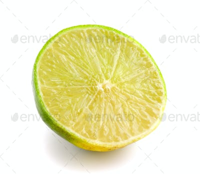 Slice of fresh lemon isolated on white background