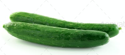 green cucumbers isolated on white background