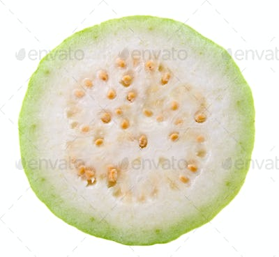 Guava Slice (tropical fruit) on white background