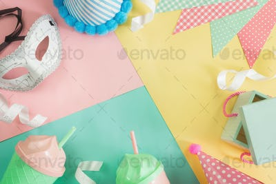 Colorful celebration party background with copy space