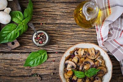 Saute with mushrooms, eggplant, aubergines and basil