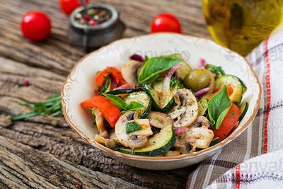 Saute with mushrooms, zucchini, tomatoes, onions and olives.