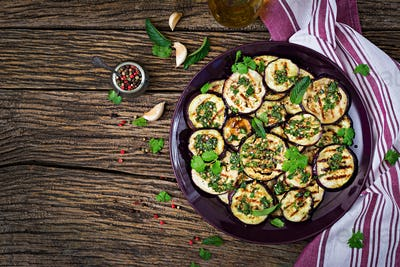 Eggplant grilled with balsamic sauce, garlic, cilantro and mint.