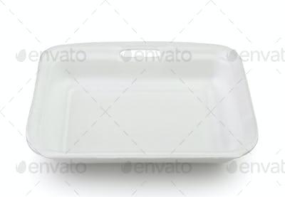 Empty plastic food polystyrene tray