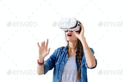 Woman with VR glasses studio shot