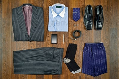 Business attire flat lay