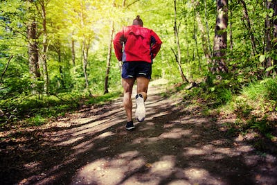 Fit young man jogging along a path in the forest