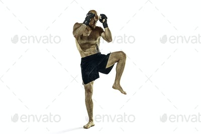 professional boxer boxing isolated on white studio background