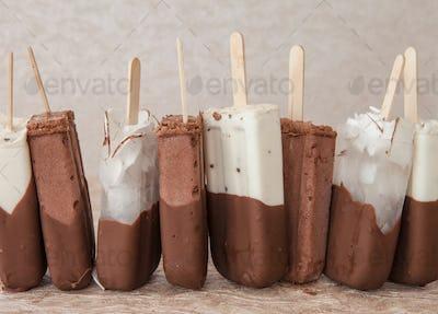 Chocolate ice cream popsicles