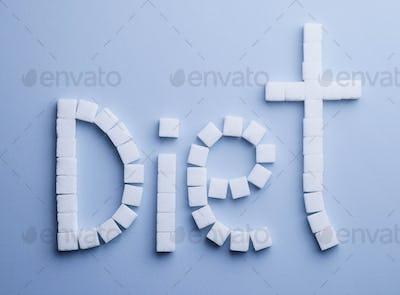 Diet text made of sugar cubes