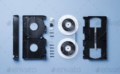 VHS Cassette disassembled
