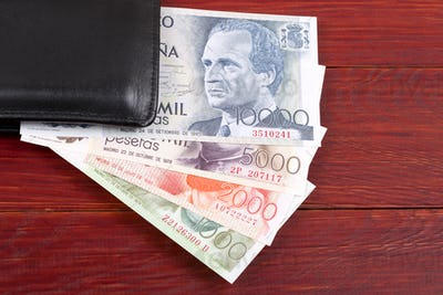 Money from Spain in the black wallet