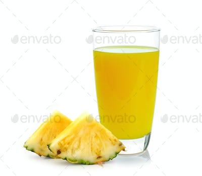 pineapple juice isolated on white
