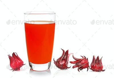 Fresh roselle with juice over white background