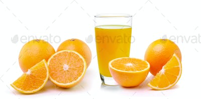 Fresh orange and glass with juice