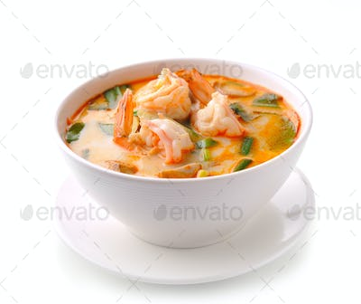 Tom Yam Kung (Thai cuisine) isolated on white background