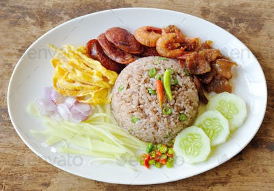 Fried rice with Shrimp paste, Thai style food