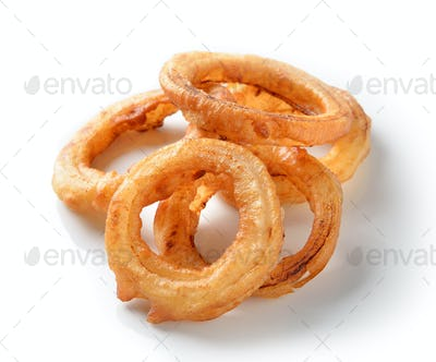 Fried Onion Rings isolated on white background