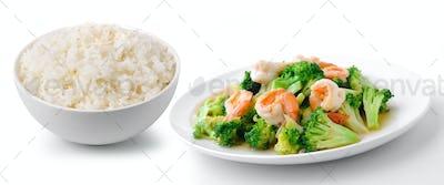 rice with thai healthy food stir-fried broccoli with  shrimp