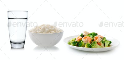 rice in a white bowl delicious food Thailand style