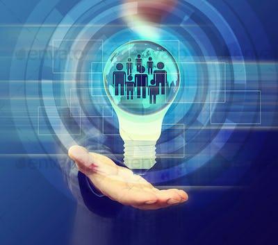 business man holding light bulb Social Network