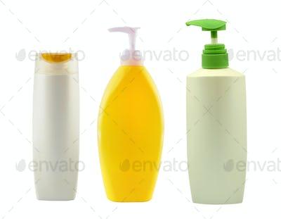 shampoo bottle on white background