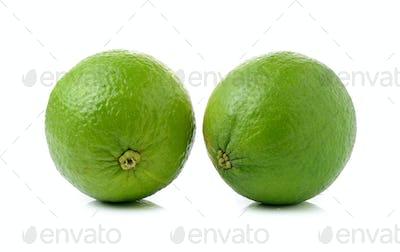 fresh lime on white background