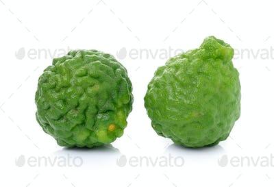 kaffir Lime or Bergamot fruit on white background.