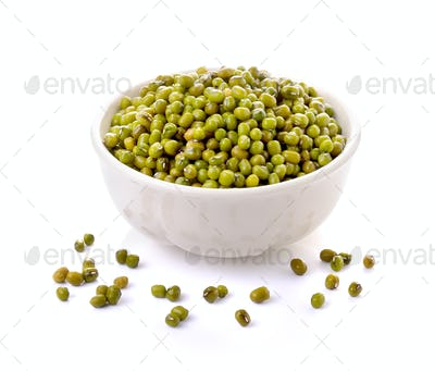 Green mung beans in bowl isolated on white background