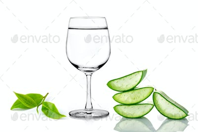 green aloe vera ,glass of water and tea isolated on white backgr