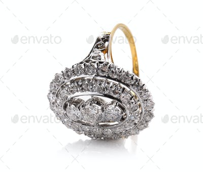 Wedding diamond ring  on white background