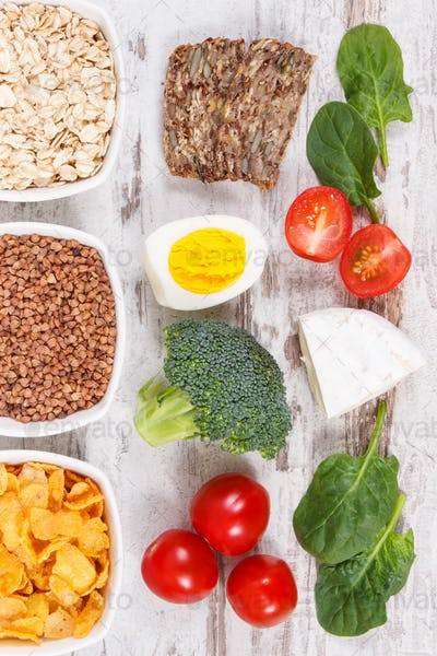 Ingredients containing vitamin B2 and dietary fiber, healthy nutrition concept
