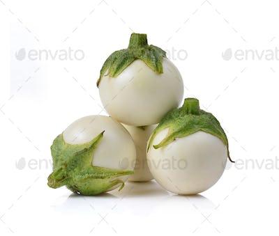 White eggplant on white background