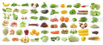 set of fruit and vegetable on white background