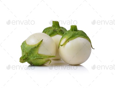 White eggplant isolated on a white background