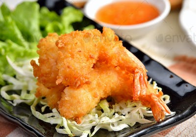 Fried Shrimp with vegetable on white plate