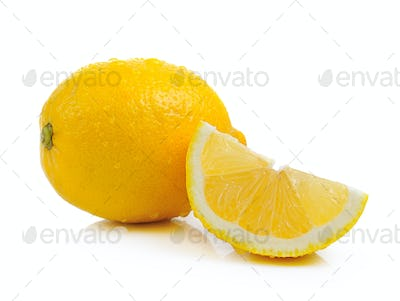Fresh lemon with drop water on white background