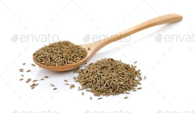 caraway thai herbs spices in the wood spoon on a white backgroun