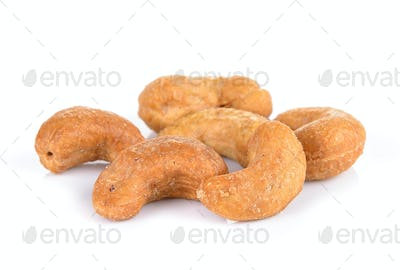 salted cashew nut on white background