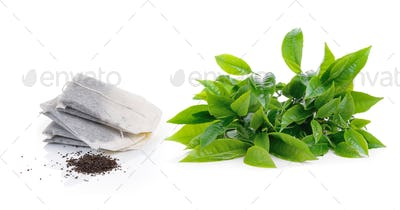 green tea leaf and teabag isolated on white background