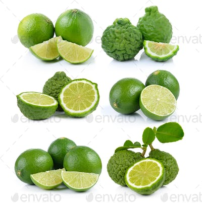 Bergamot fruit and lime on a white background