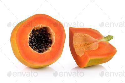 papaya on white background