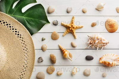 Vacation background on white wood, top view with copy space