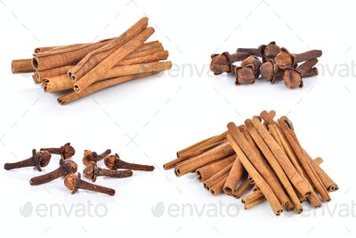 Spice cloves and cinnamon on white background