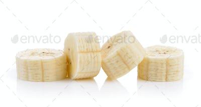 slice banana on white background