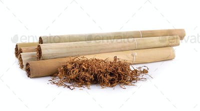 Tobacco pile and cigarette
