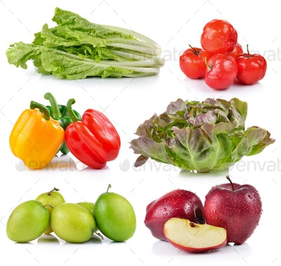 red apple, pepper, Monkey apple, Ripe thai cherry, lettuce, Gree