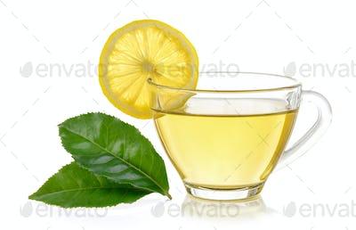 glass of lemon tea on white background