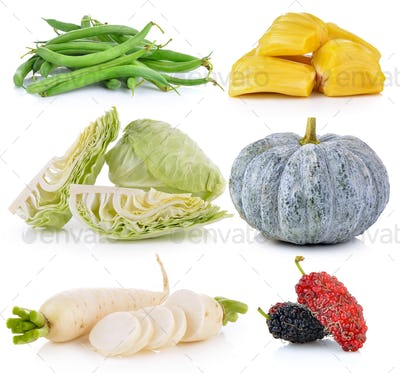 Daikon radishes, jack fruit, pumpkin, Mulberry, cabbage, Green b