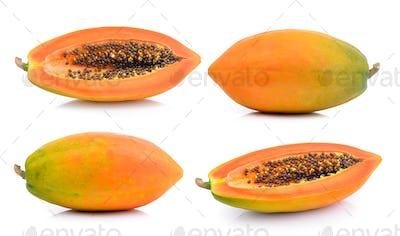 papaya slice on white background
